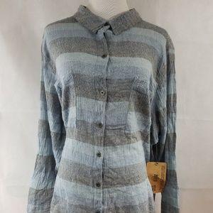 Ruff Hewn womens long sleeve button down blue 3X